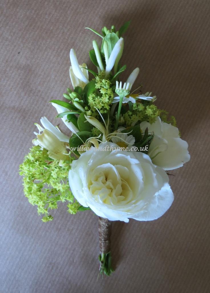 Elegant Cream and Green Buttonhole