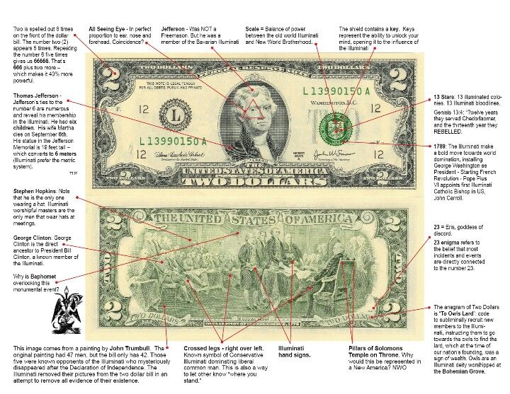Two dollar bill flooded with illuminati and satanic symbolism. Our forefathers were illuminati. OPEN YOUR EYES!!!