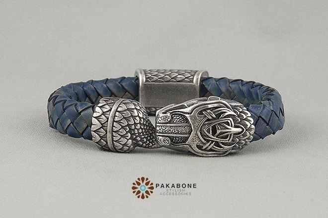 Viking Bracelet with Jormungandr - Leather Wristband  with Ouroboros art. 001-004 by PAKABONE on Etsy https://www.etsy.com/listing/499369300/viking-bracelet-with-jormungandr-leather