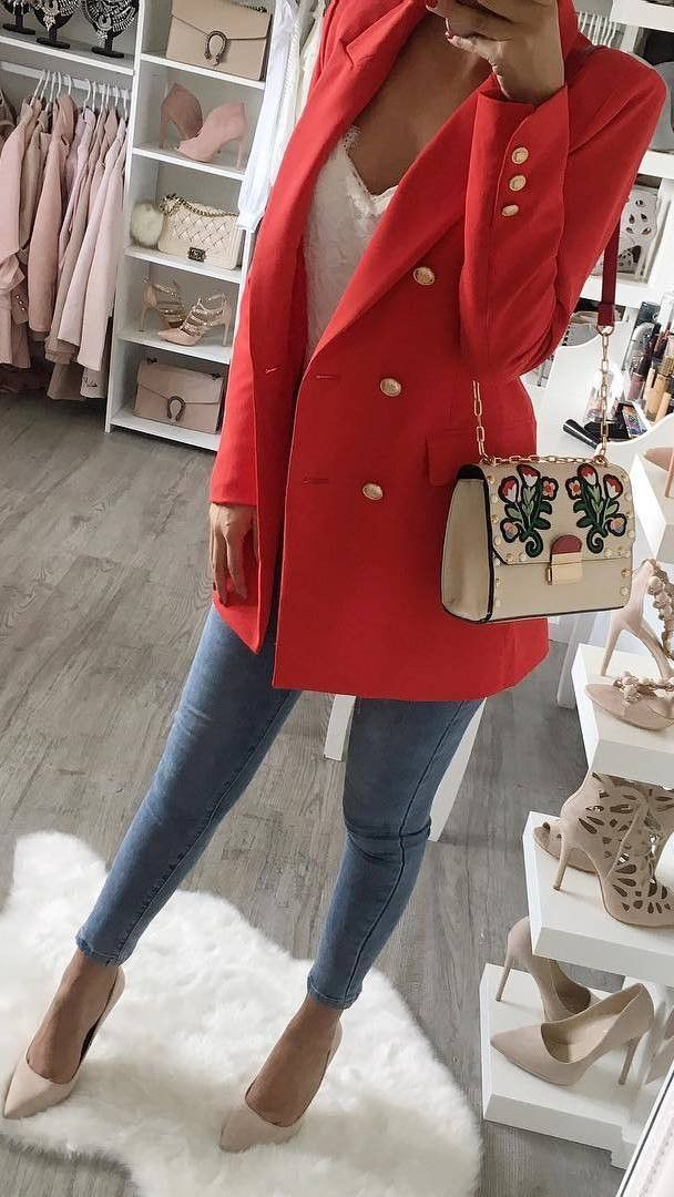 how to wear a red blazer : top + bag + skinnies + heels