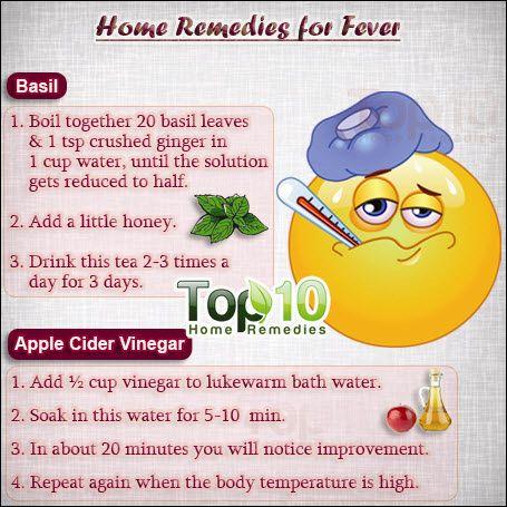 home remedies for fever: cool water, basil, apple cider vinegar, garlic, raisins, ginger, mint, turmeric, sandalwood