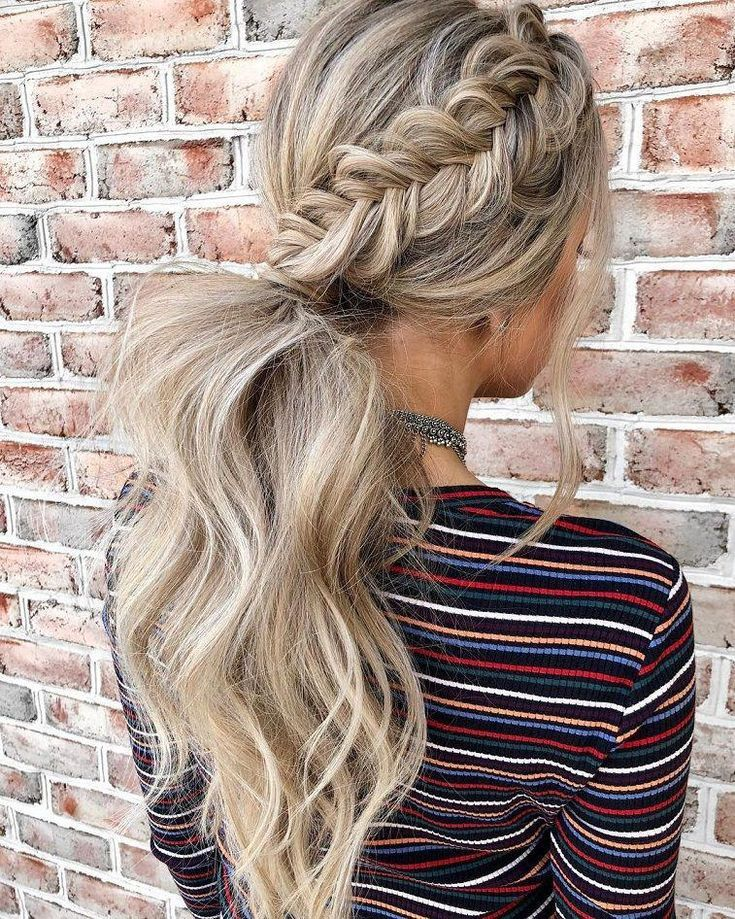 These hairstyles are lovely – braid hairstyle , gorgeous hair color, braided ponytails ,messy braids #hairstyle #haircolor #braids #hair #bun