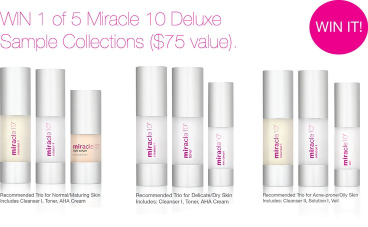 All you need to do to enter the contest is follow us on Twitter and RT our giveaway tweet for a chance to win 1 of 5 Miracle 10 skincare trios ($75 value). Enter now.  #giveaway #canada #contest #skincare #skin  #care #antiaging