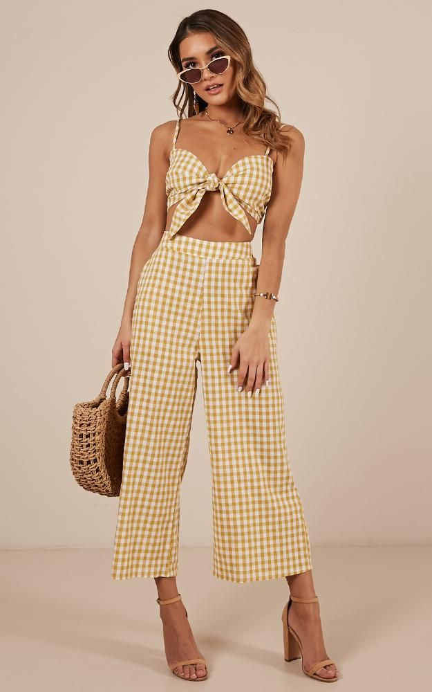 9ace313265fc80 Get In Line Two Piece Set In Mango Gingham Linen Look Produced in 2019 |  Fashion | Two piece sets, Two Piece Dress, Line