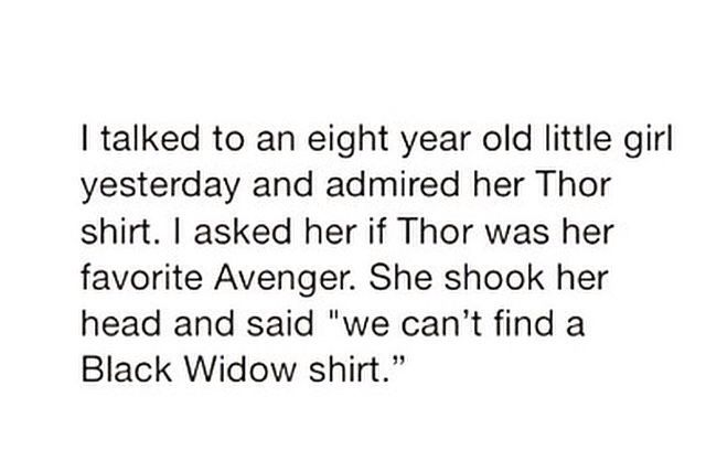 Poor kid. Seriously though, WHERE ARE THE BLACK WIDOW SHIRTS?????? >>> this is aggressively emotionally upsetting.