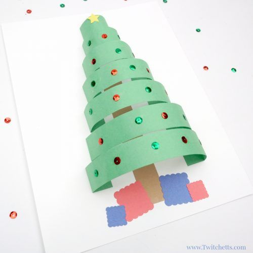 3d Paper Christmas Tree Christmas Crafts For Kids Christmas Paper Crafts Paper Christmas Tree Construction Paper Crafts