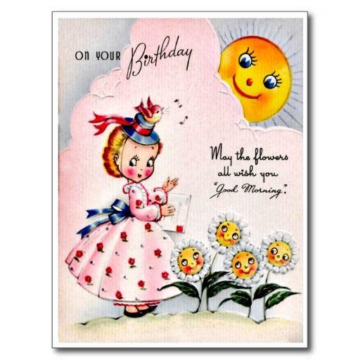 """Zoet Meisje - Retro Gelukkige Briefkaart van de Verjaardag De vintage Retro Kaarten van de Verjaardag voor alle leeftijden.   De grappige, Leuke, Gelukkige Kaarten van de Verjaardag voor kinderen, meisjes en jongens, mamma's en dads, grootmoeder en grootvader, broers en zusters, tantes en ooms, neven… en voor vrienden.  Alle kaarten zijn hersteld, de hersteld de smetten, vlekken en de scheur. Personaliseer als u door te gebruiken """"aanpast het"""" knoop dit wenst. Wij hopen u van ons collectie…"""