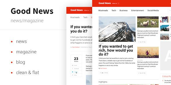 Good News - News&Magazine Template by zucchero Wordpress version is available. HTML Version is available.Adobe Muse Version is available. Good News is perfect for news, magazin