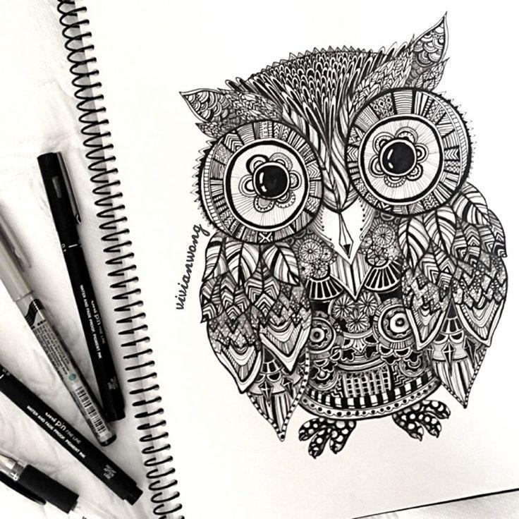 Zentangle Owl by vivianhitsugaya on deviantART
