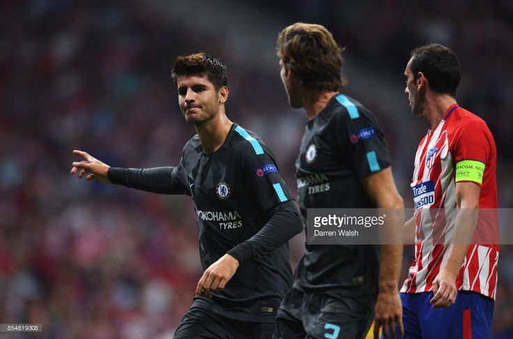 Alvaro Morata of Chelsea celebrates after he scores his sides first goal during the UEFA Champions League group C match between Atletico Madrid and Chelsea FC at Estadio Wanda Metropolitano on September 27, 2017 in Madrid, Spain.