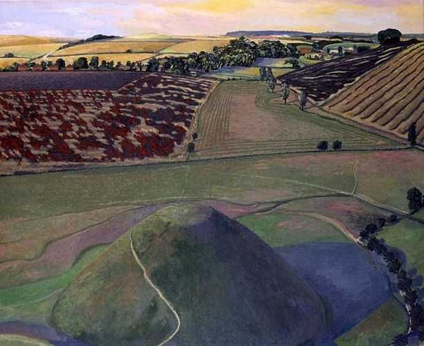 David Inshaw. Silbury Hill from above.