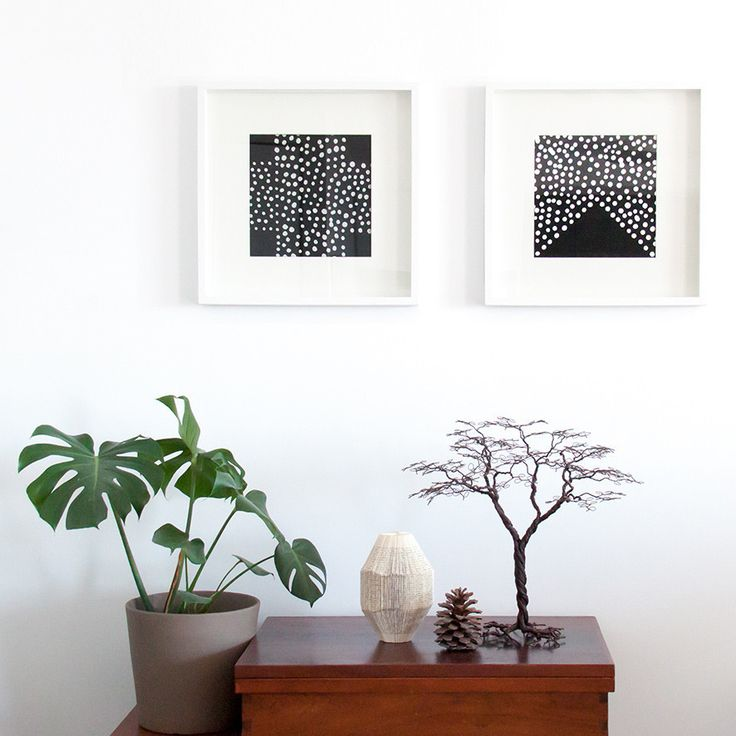 Hand made wired tree styled with our hand painted wall art batiks in black and white.  With a beautiful green delicious monster!