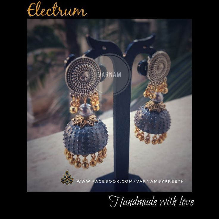 Another dual toned jhumka with subtle gold and silver shades :) Code name: Electrum  #handmadelove #varnambypreethi #electrum #jhumkas #dualtone #chennai #accessories #traditional