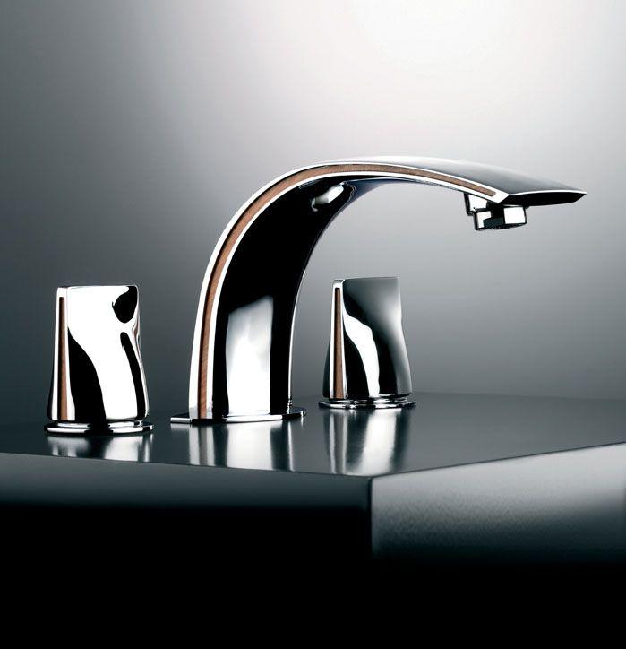 Profile, deck-mounted washbasin set in chrome finish and exotic wood insert. #serdaneli #luxurybathroom #bathroomfittings #hardware