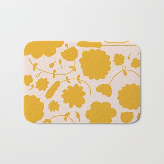 Floral yellow Bath Mat