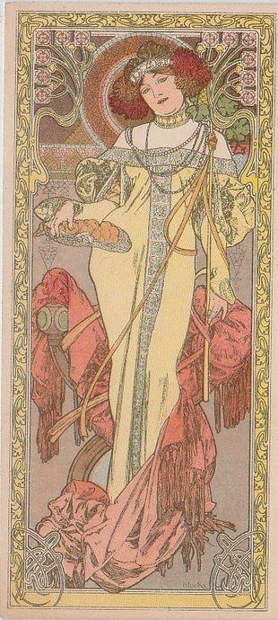 Rare Alphonse Mucha French Postcard 'Autumn' 1903***