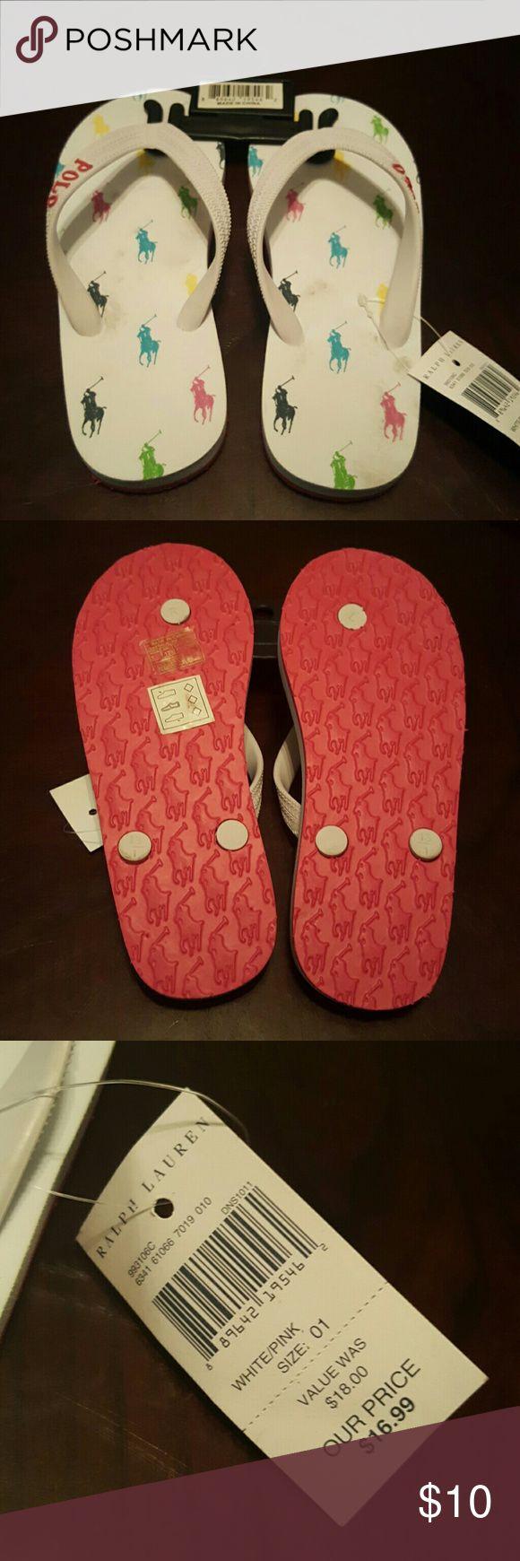 Ralph Lauren Girls Multi Color Flip Flops Ralph Lauren Polo sandals Girls flip flop Beach wear **Size 1 RUNS SMALL** **STEAL FINAL PRICE** Ralph Lauren Shoes Sandals & Flip Flops