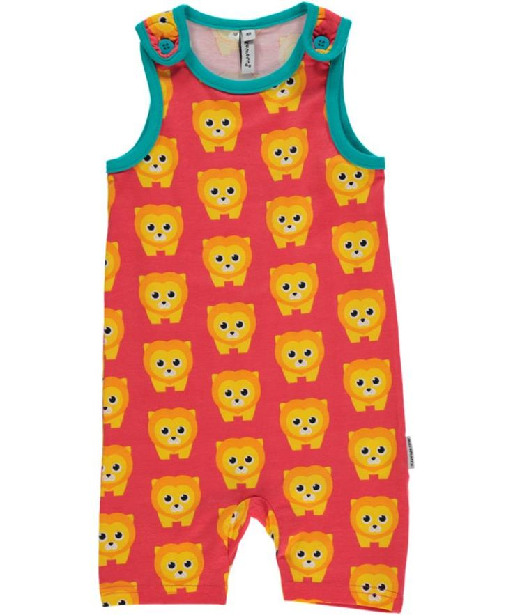 Maxomorra Organic summer overalls - Lion Retro Baby Clothes - Baby Boy clothes - Danish Baby Clothes - Smafolk - Toddler clothing - Baby Clothing - Baby clothes Online
