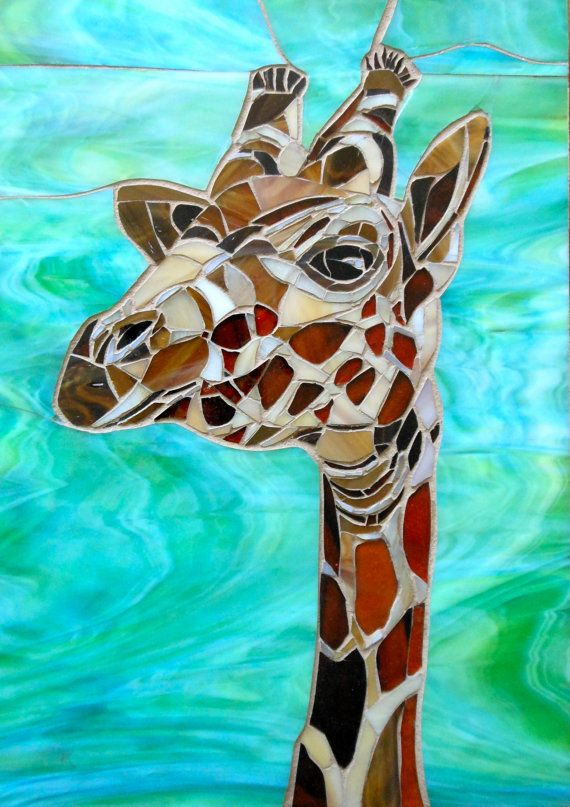 Greetings Card  Giraffe Mosaic by lamosaicgifts on Etsy, $4.50