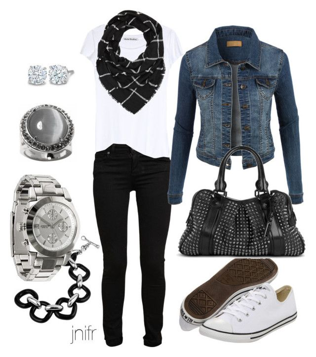 """""""sneaker chic"""" by jnifr ❤ liked on Polyvore featuring Paige Denim, Converse, Acne Studios, LE3NO, Burberry, Charlotte Russe, Masini Gioielli, FOSSIL and Banana Republic"""