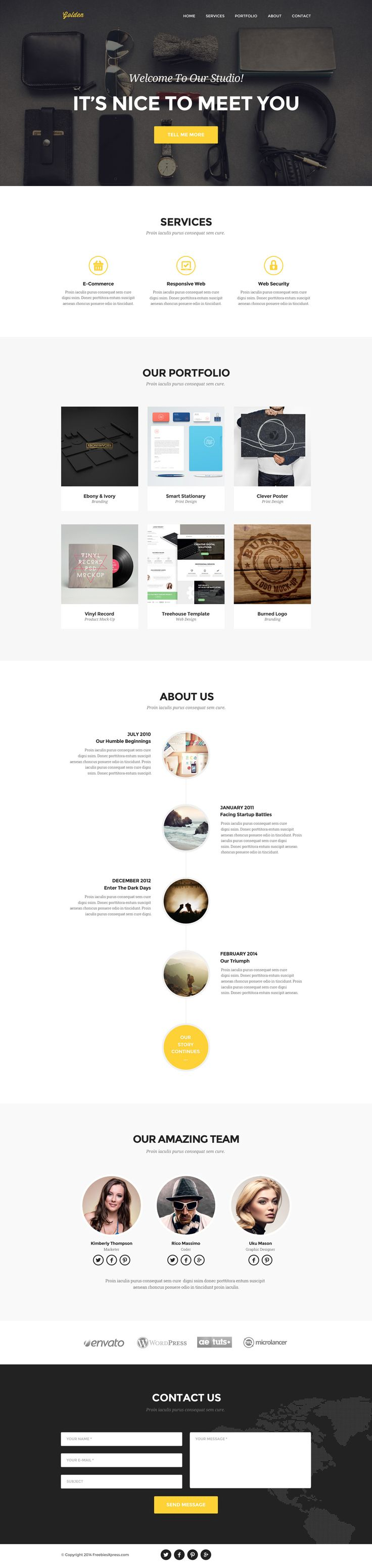 Golden - Free One Page PSD Theme