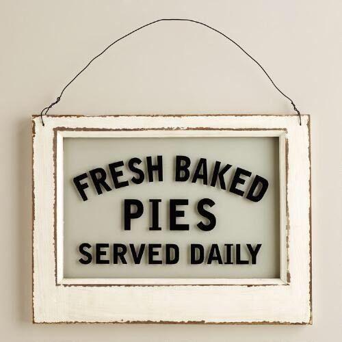 Fresh Baked Pies Sign Glass Wood Decor Bakery Sign Vintage Kitchen Diner Sign in Art, Direct from the Artist, Folk Art & Primitives   eBay