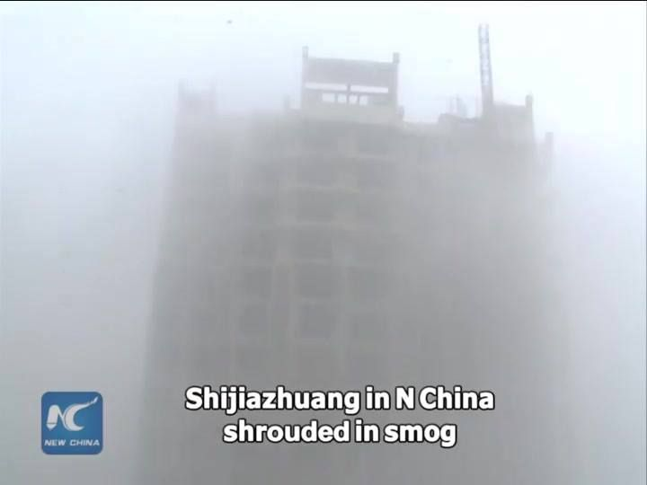 Severe #smog in N China disrupts the lives of hundreds of millions of people. Readings in #Shijiazhuang once exceeded 1,000 Monday. 23 cities have activated red alerts, the highest in a four-tier warning system for severe weather.