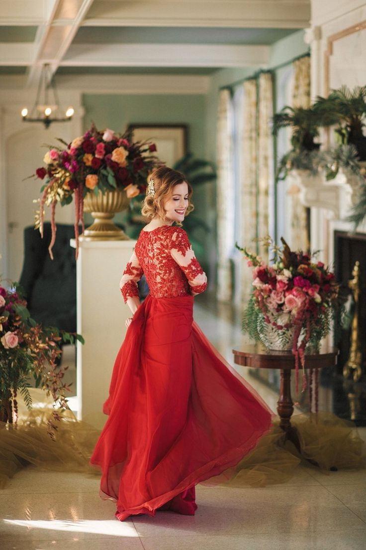 Opulent Red Valentines Wedding Dress
