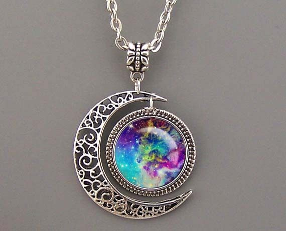 Nebula necklace,Rosette Nebula Necklace Moon charm von MyArtDream auf DaWanda.com