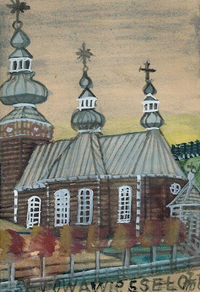 """NIKIFOR KRYNICKI (1895-1968); Title: """"Drewniany kościół"""";"""