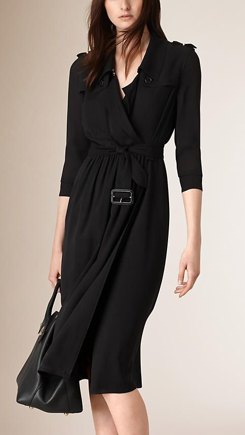 Burberry Black Silk Trench Dress