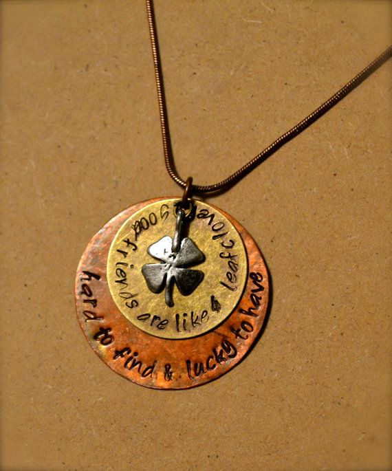 Four-Leaf Clover, Best Friend, Hand Stamped Necklace with Copper and Brass Plates $20 by ClassyCraftsbyAsh