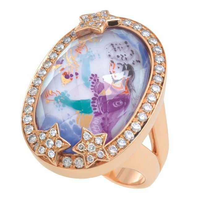 Ring Mystery Arabian Nights with Amethyst and Stars covering