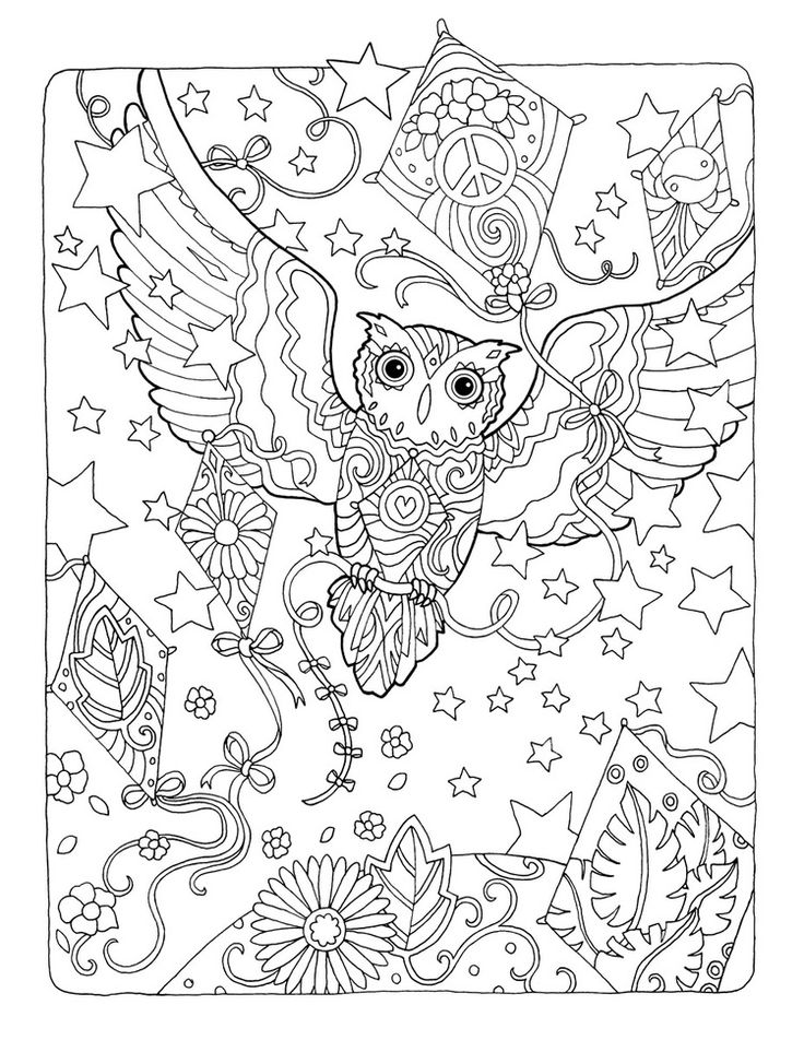 """Creative Haven Owls Coloring Book by Marjorie Sarnat, """"Kite Flying"""""""