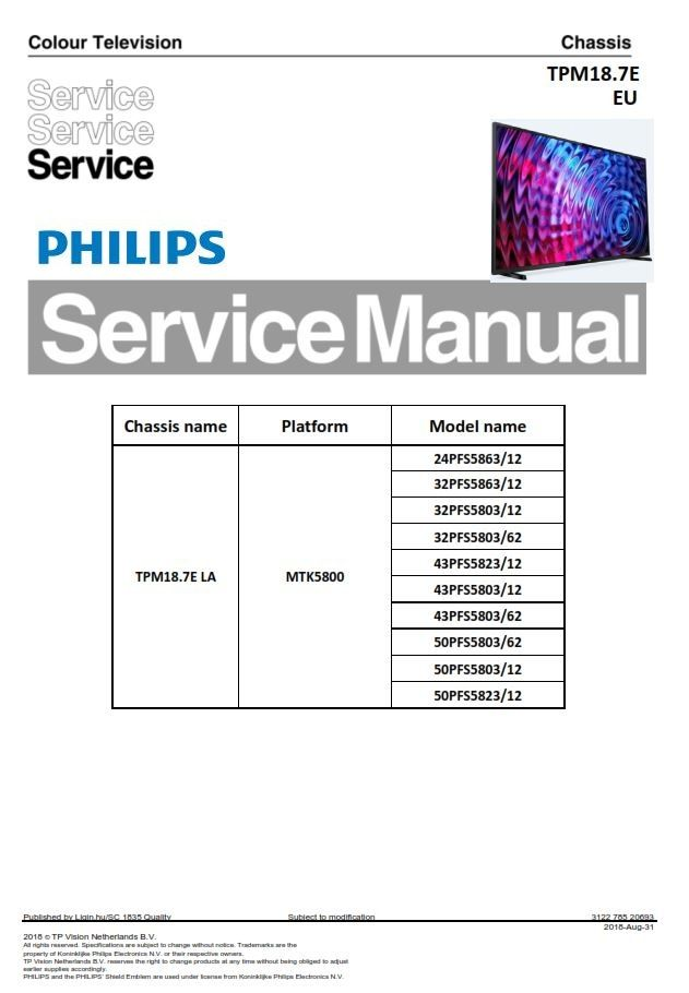 Philips 50pfs5803 50pfs5823 43pfs5803 43pfs5823 Original