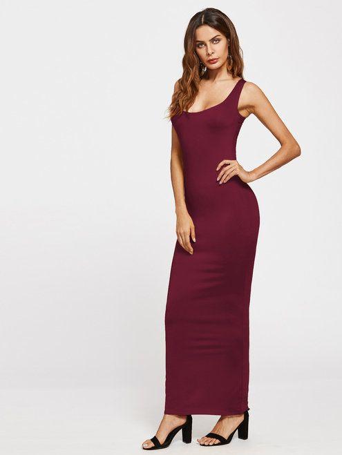 0999f4e7cdcef Scoop Neck Sheath Tank Dress - Burgundy | Hot new ladies dresses in ...