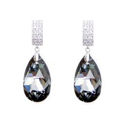 Swarovski Elements Fine Silver Teardrop Silver Night Color Stud Earrings