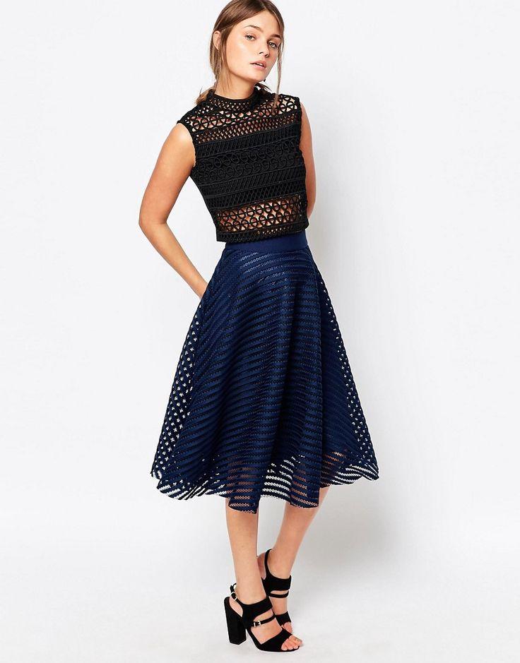 Image 1 ofNew Look Stripe Mesh Midi Skirt