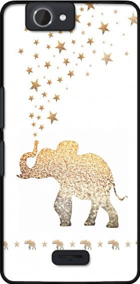 coque Gatsby Gold Glitter Elephant pour Wiko Getaway