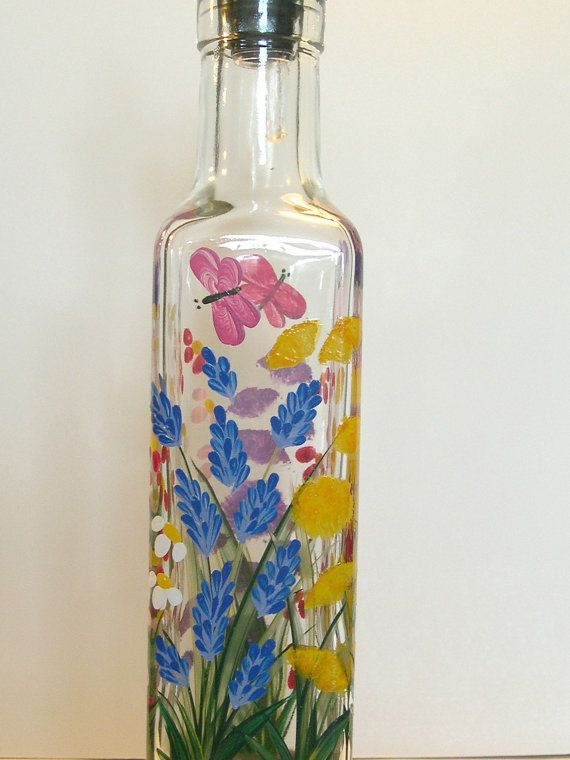 1000 images about crafts hand painted on pinterest for Flowers in glass bottles