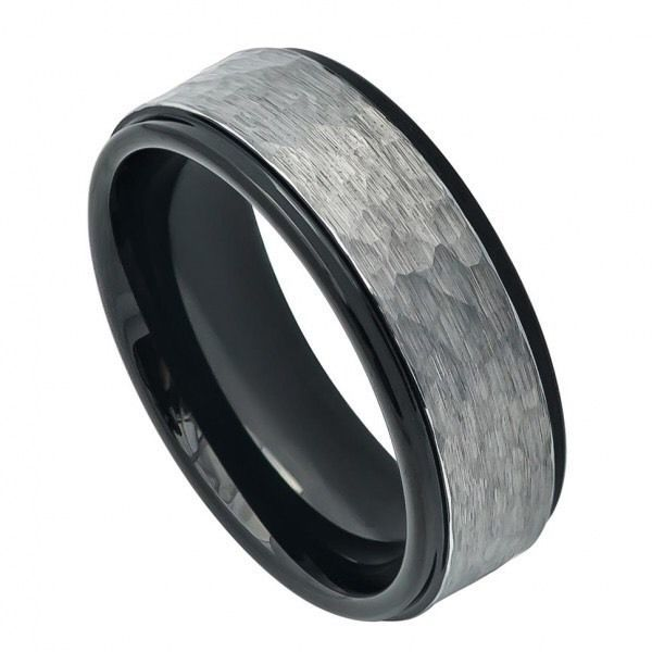 Men's Black Tungsten Wedding Band Ring Hammered Finish 8mm Width #JRyanFineJewelry