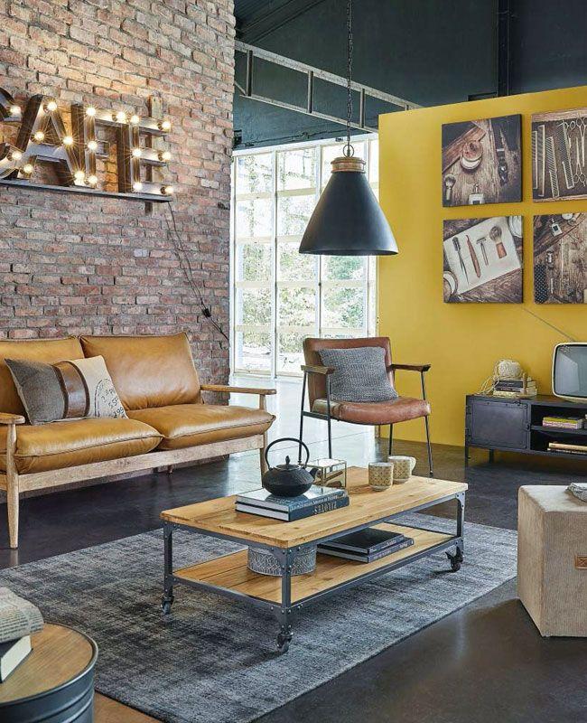Une Deco Industrielle En Jaune My Blog Deco En 2020 Canape Cuir Marron Deco Salon Industriel Decoration Salon Jaune