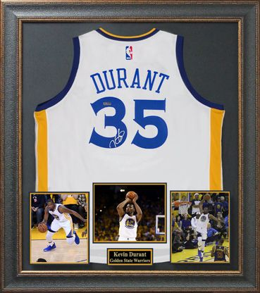 Kevin Durant Signed Golden State Warriors Home Jersey Display.
