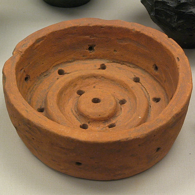 Roman Cheese Press of the Roman Period from Lower Halstow, Kent, England. From the collection of the British Museum, London, England.