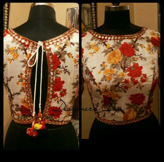 Floral blouse with bird tassels