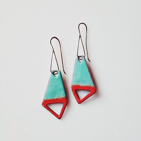Big+Kite+Cutout+Earrings+in+Aqua+&+Flame by Jenny+Windler: Enameled+Earrings available at www.artfulhome.com
