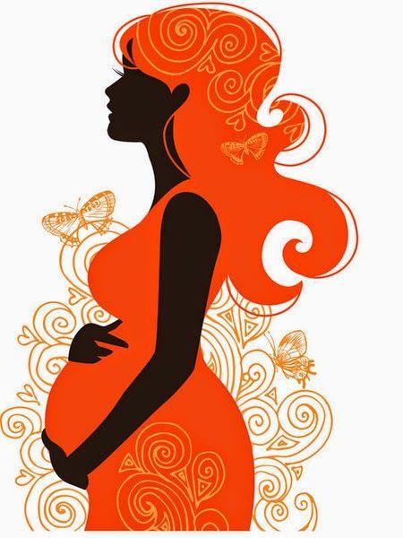 Dibujo de mujer embarazada, de perfil, en tonos anaranjados y negro.
