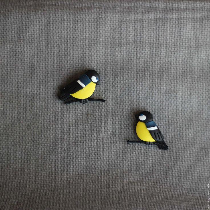 Купить Синичка на веточке. Брошь (два варианта) - желтый, черный, серый, синички, птички, весна