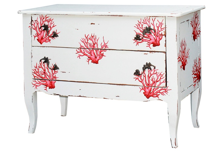 One Kings Lane - Fabulous Finishes - Florence Commode, White/Coral