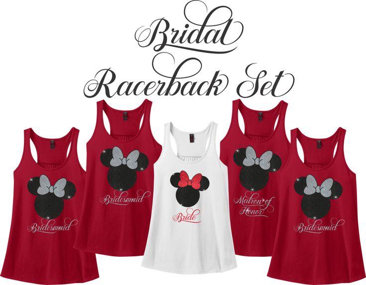 Minnie Mouse Bridal Party Racerback Set, Wedding Party Tank Set, Bride…